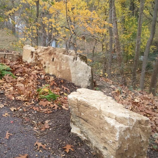 Boulders lining a hillside