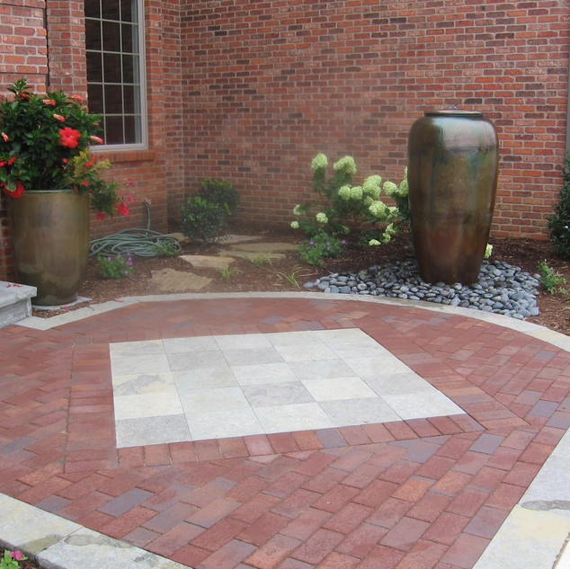 Paver inlay marks the entrance