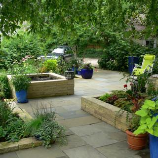 Raised planters in secret garden