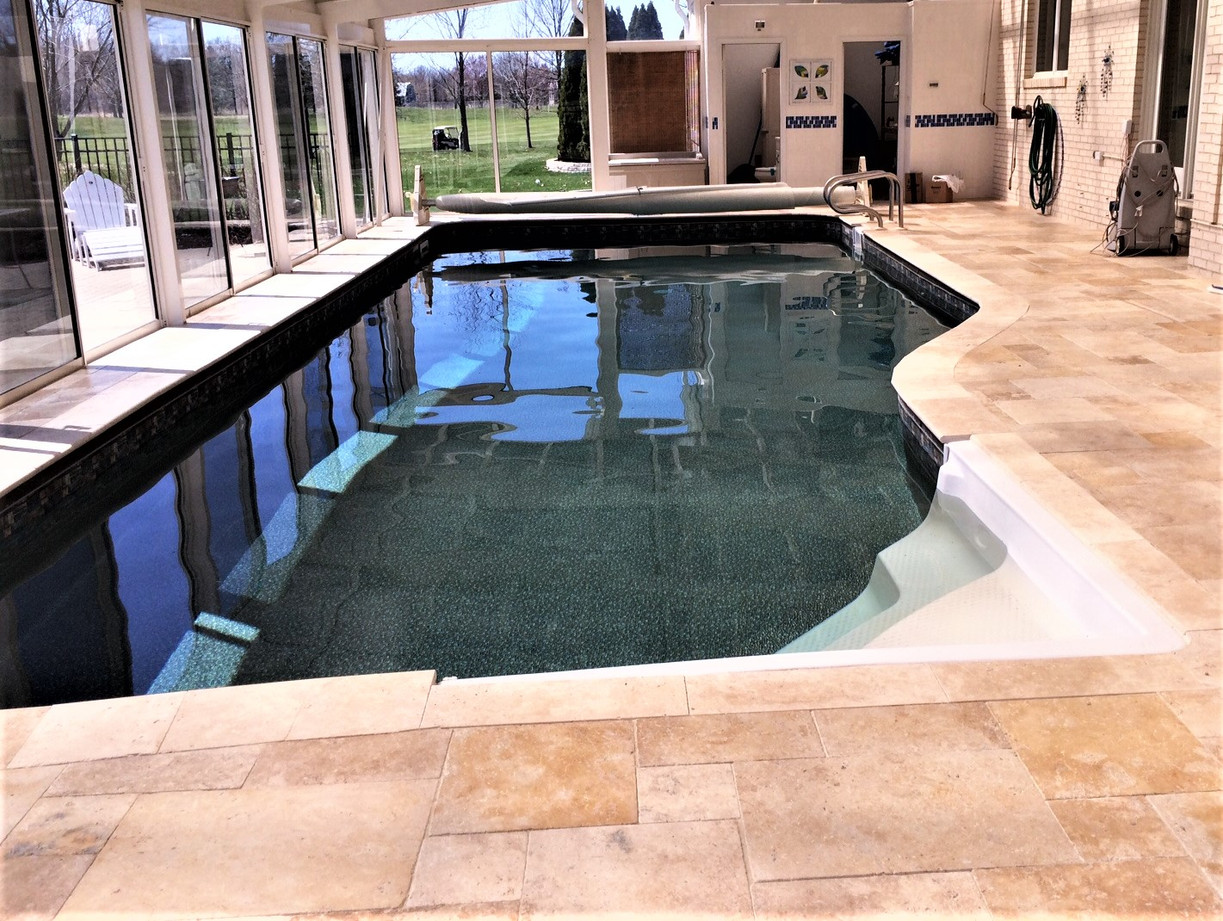 Travertine pool coping and surround