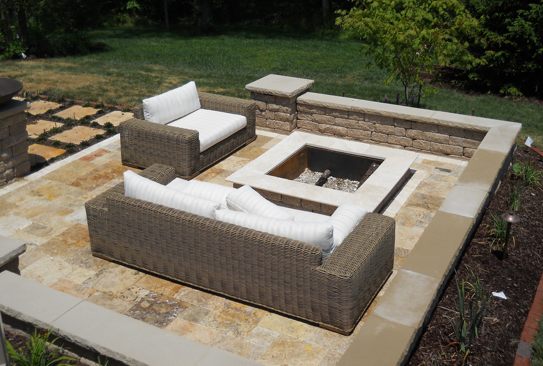 Travertine contemporary fire pit
