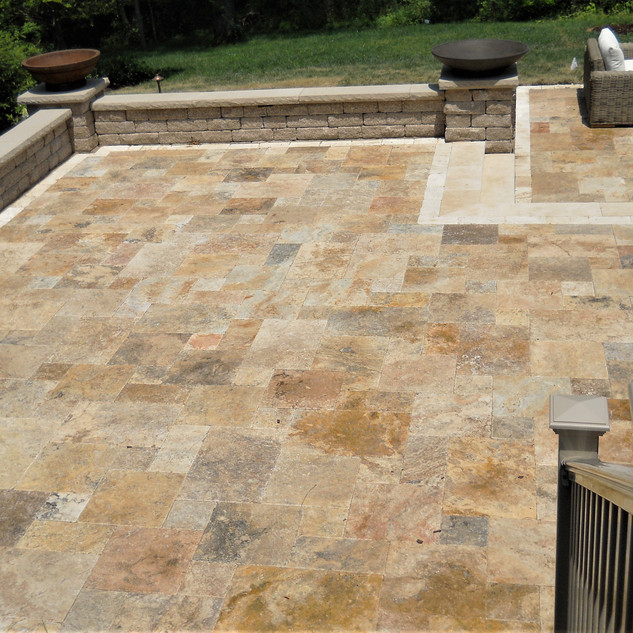 Autumn Leaves travertine patio