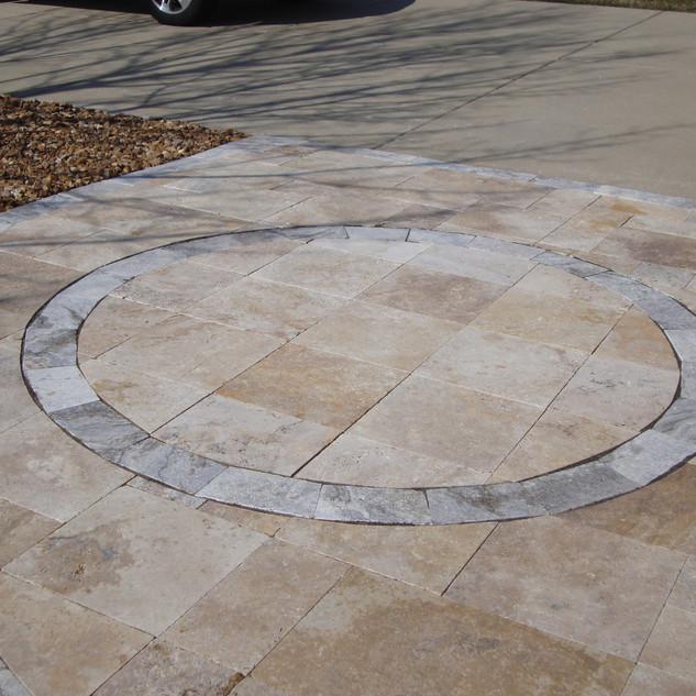 Travertine with stone inlay