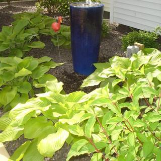 Blue vase in the garden