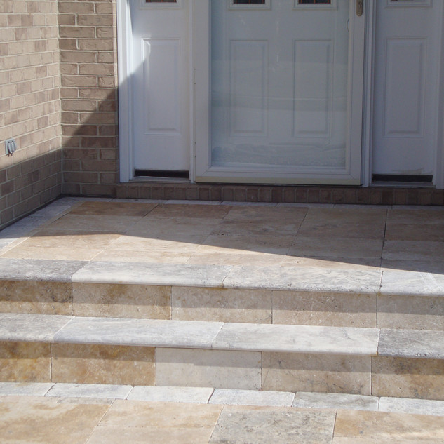 Travertine landing and treads