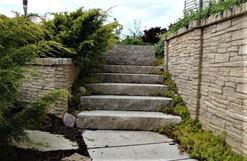 Cut stone steps