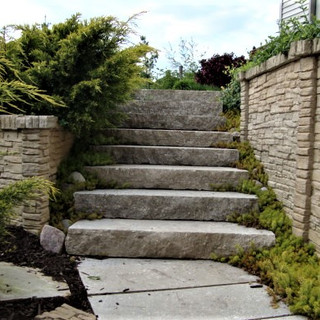 Stone steps lined with sedum