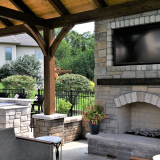 Fire place with outdoor television
