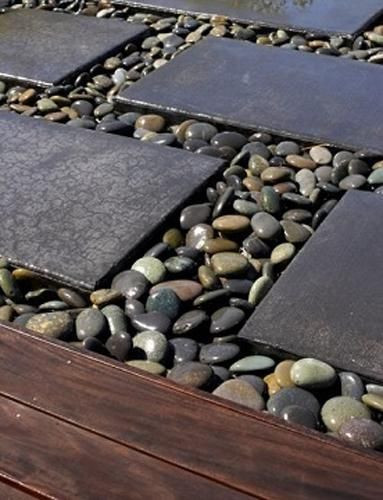 Step stones set in rounded cobbles