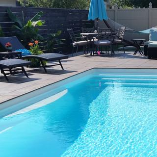Porcelain plank pool deck