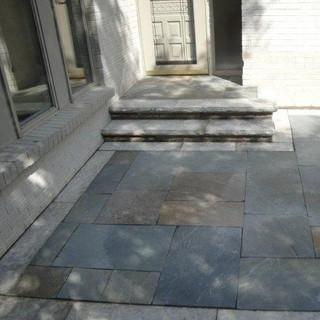 Bluestone landing with stone treads