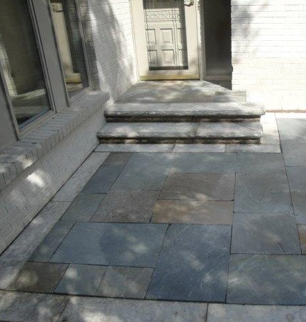 Bluestone landing with stone treads