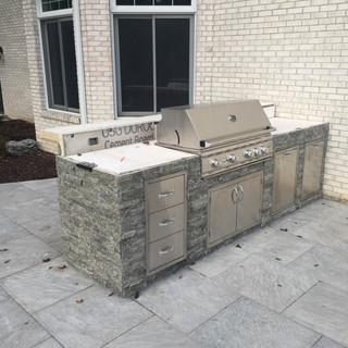 Laminated stone grill island