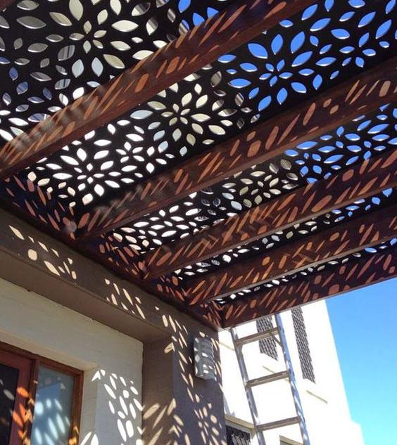 Laser screen panel pergola roof