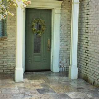 Travertine cottage entrance