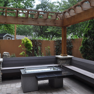 Bench seating and fire table