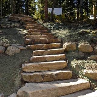 Ledge boulder steps