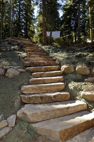 Ledge boulder steps