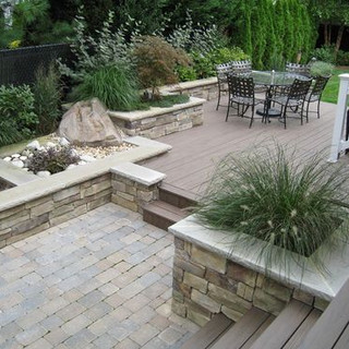 Deck to paver patio transition