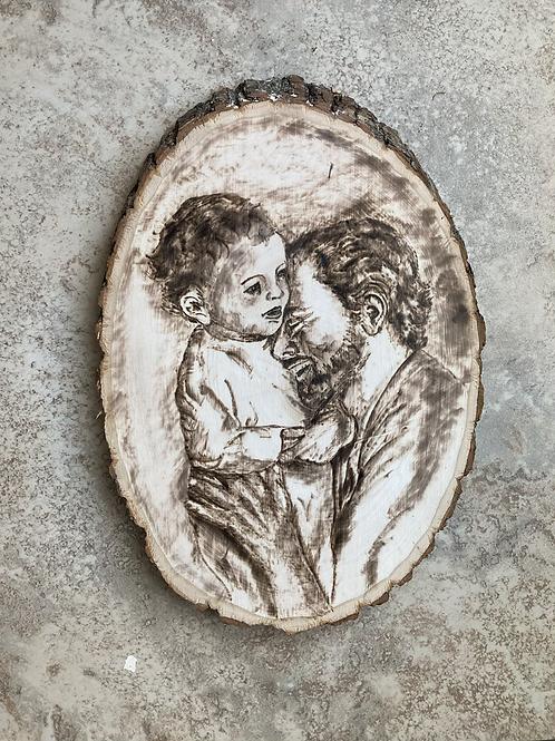 St  Joseph Laughing With Baby Jesus Woodburning