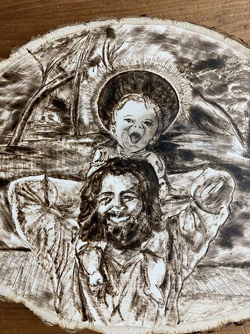 St  Joseph and Baby Jesus Woodburning