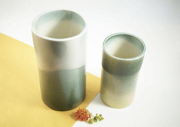 caroline prevost ceramique degradé porcelaine poterie roubaix lille émail art ceramique contemporaine  ateliers jouret  vase gradient vert