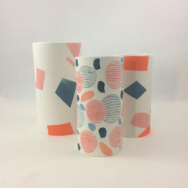 caroline prevost ceramique vaseporcelaine poterie roubaix lille émail art ceramique contemporaine  ateliers jouret engobe creation geometrique motif dessin