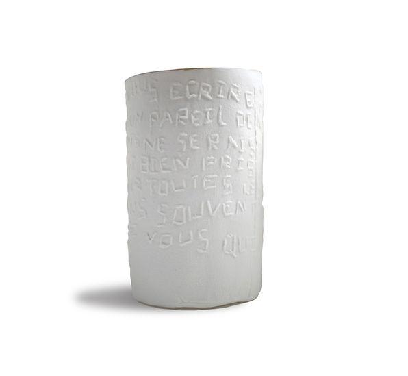 caroline prevost ceramique timbale memoires broderie texte lettres ceramique comtemporaine or roubaix lille ateliers jouret
