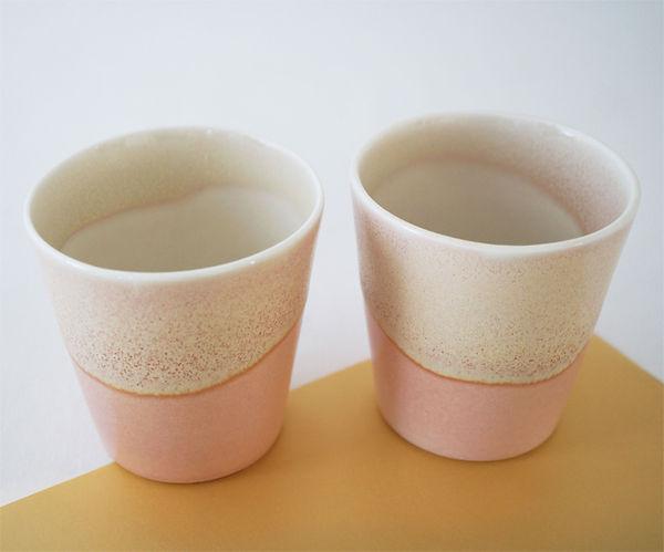caroline prevost ceramique degradé porcelaine poterie roubaix lille émail art ceramique contemporaine  ateliers jouret  gobelet tasse degradé gradient jaune rose