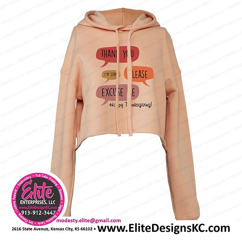 Thanksgiving 1 Peach Ladies' Cropped Fleece Hoodie