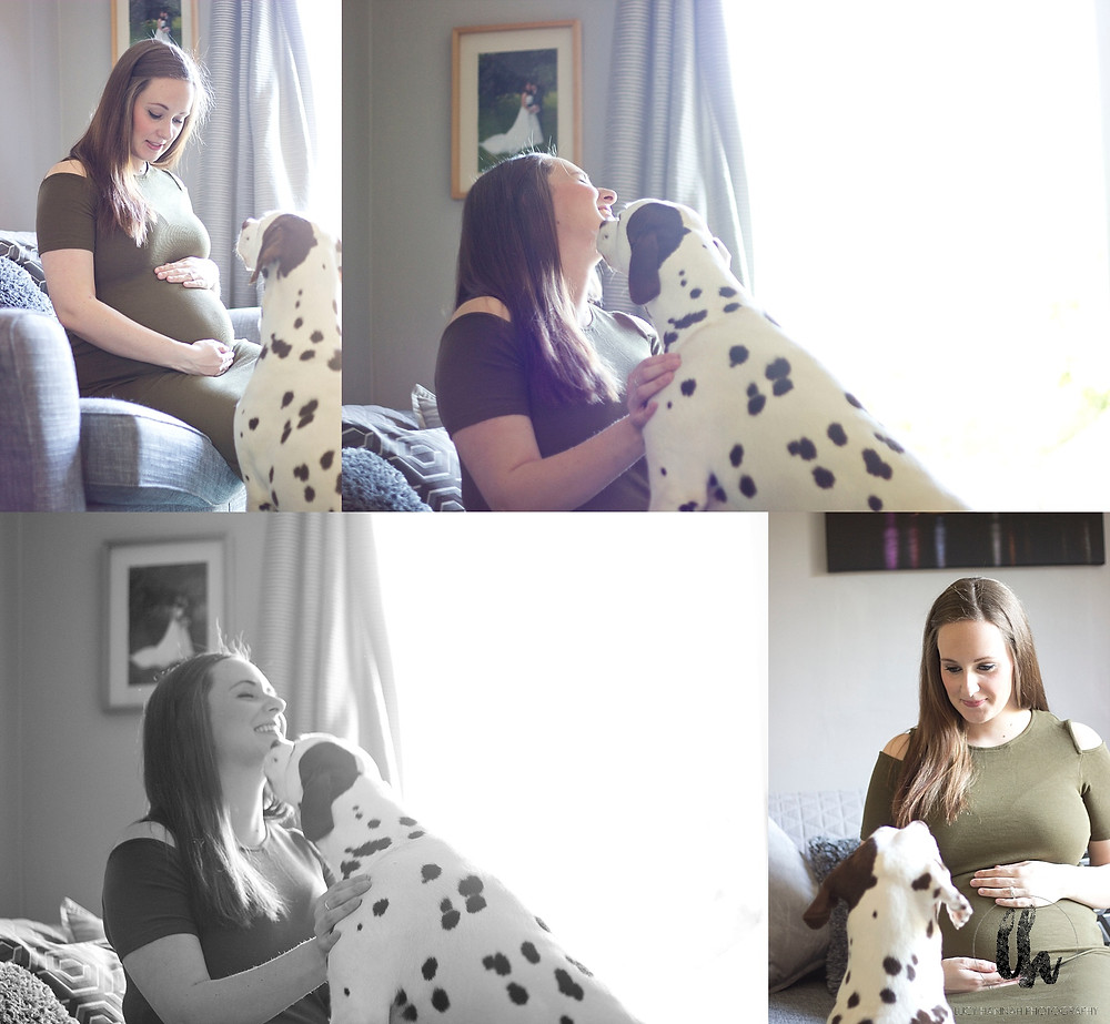 Mum and dog relaxed maternity session