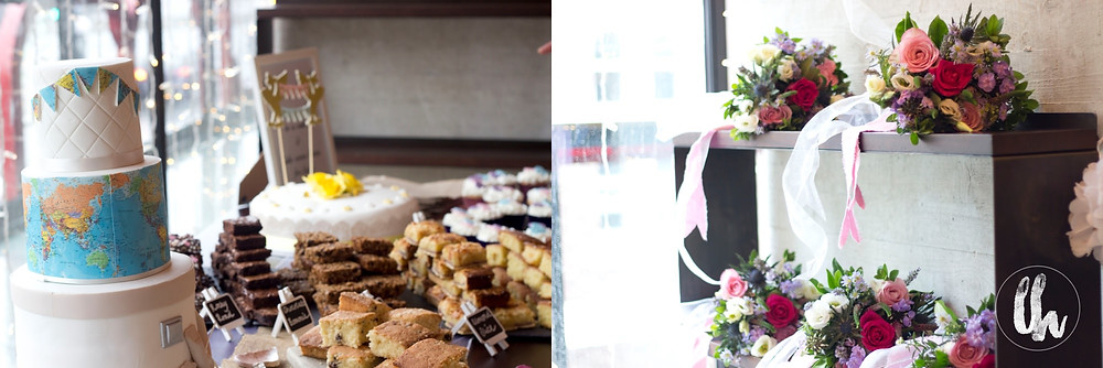 wedding cake and bouquets at Everyman Theatre