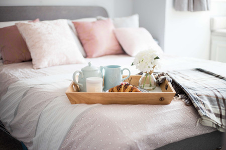 Breakfast in bed with candle. Candle collective uk