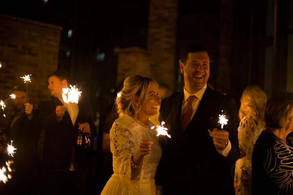 Sparklers at Siren wedding Liverpool