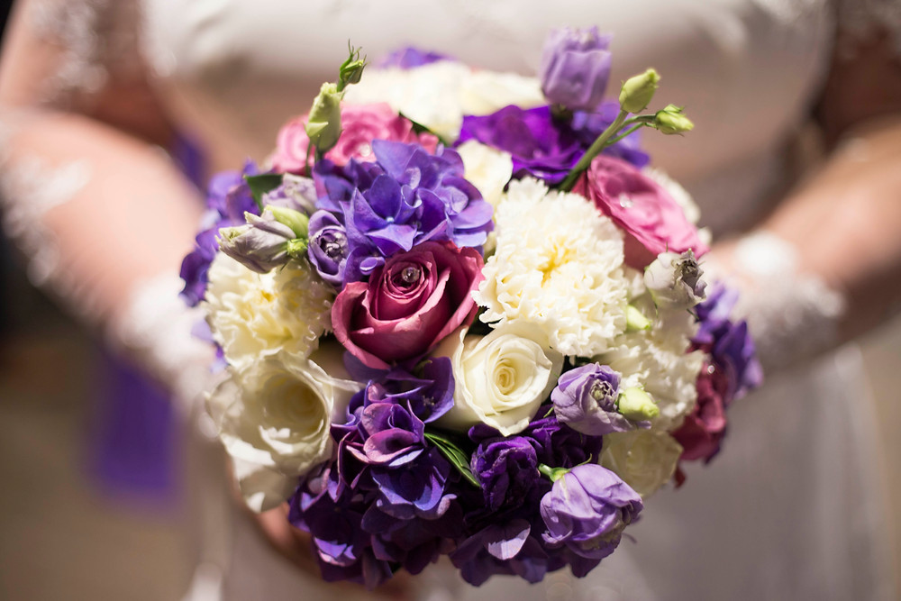 Ultraviolet and purple bridal bouquet