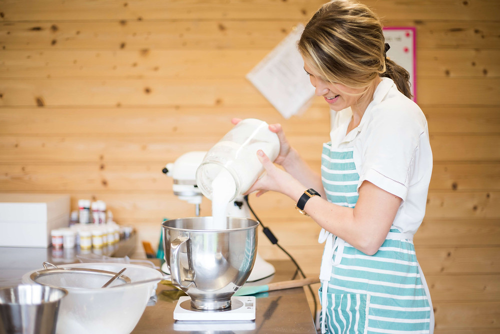 Baker mixing a cake - Elizabeth Harris Personal Branding Photography