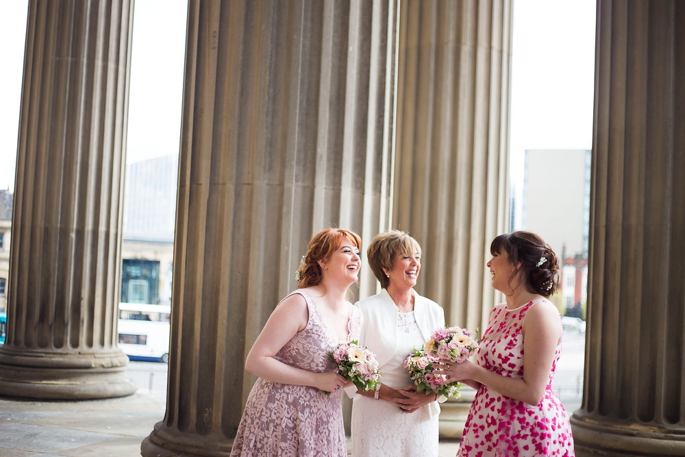 Bride and bridesmaids at St Georges Hall Wedding Liverpool