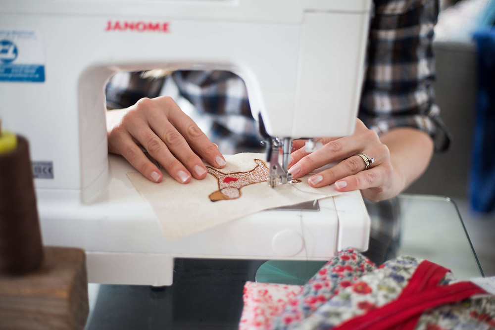 Personal branding photography handmade business on the sewing machine