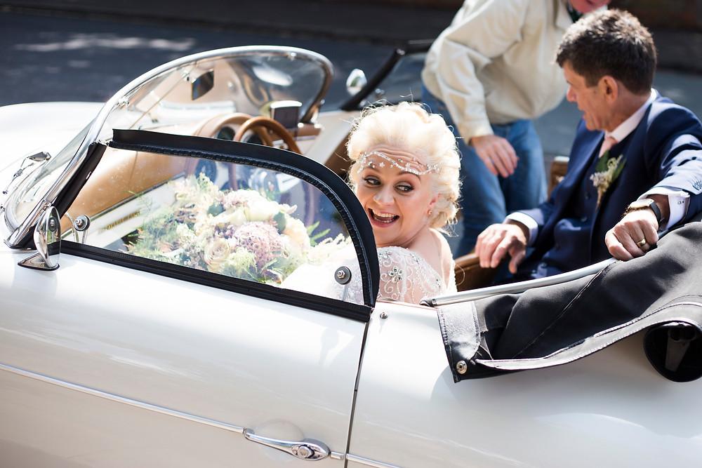 Bride arriving at the church Oaklea Barn Liverpool