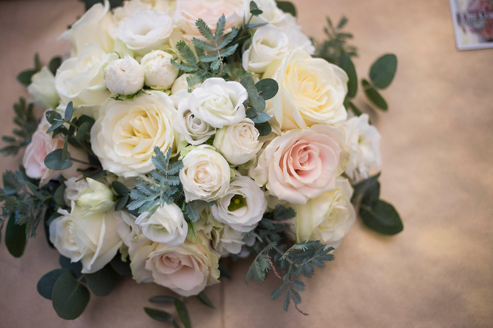 Cream pastel bridal rose bouquet