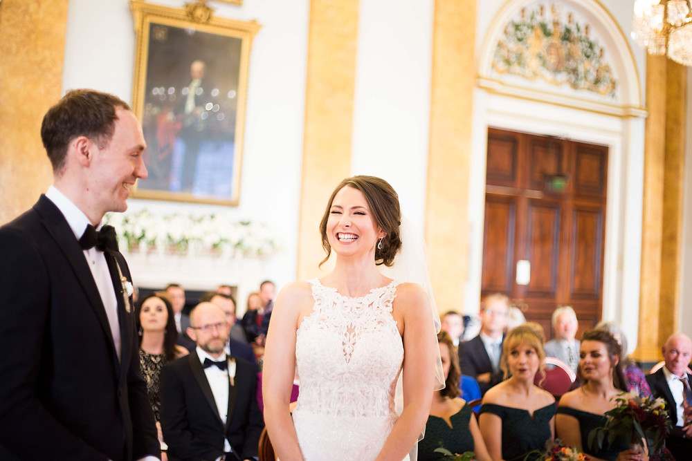 Laughter during Liverpool Town Hall Wedding ceremony