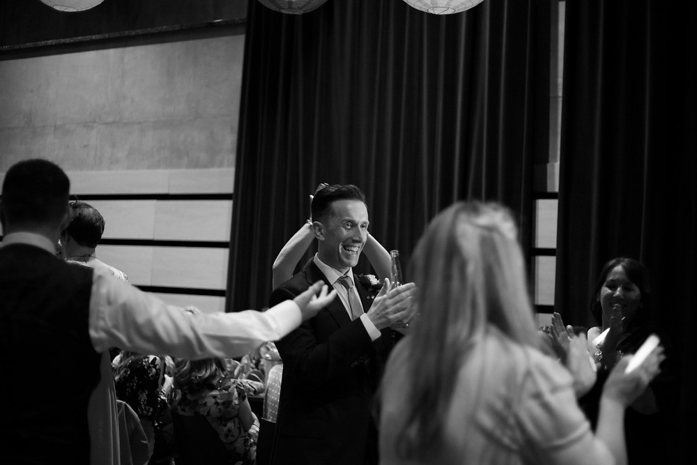 Groom dancing at Bluecoat wedding