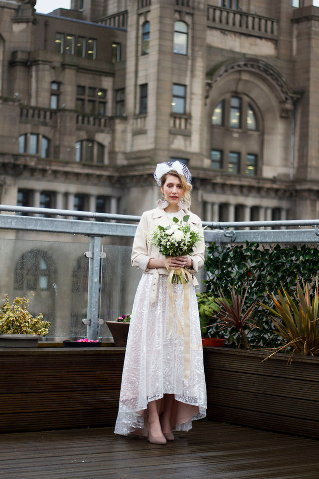 Bride on the roof garden at Oh Me Oh My Liverpool