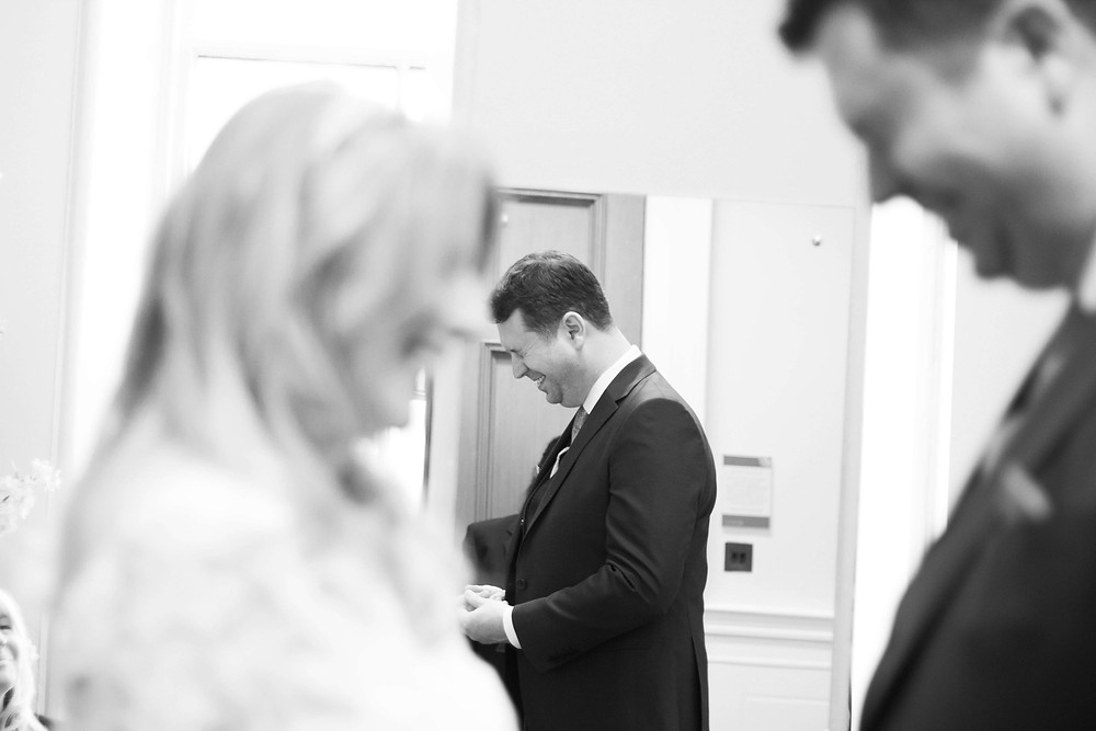 Emotional Groom at St Georges Hall Elopement