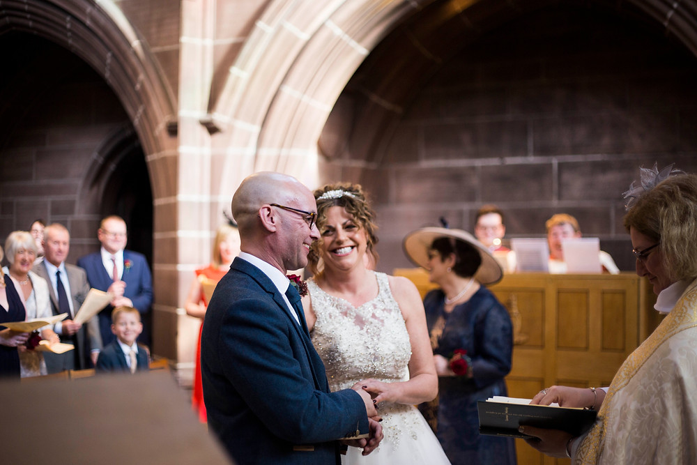 Bride and groom at Lady Chapel wedding ceremony Liverpool Cathedral Wedding
