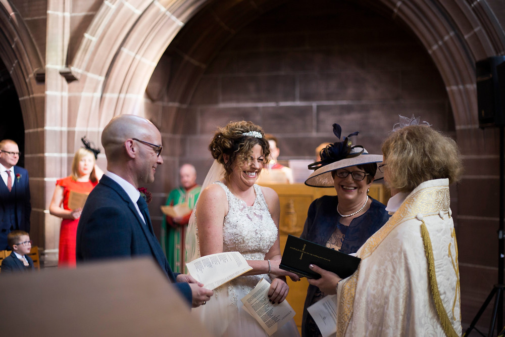 Bride and groom at wedding ceremony in Lady Chapel Liverpool Cathedral Wedding