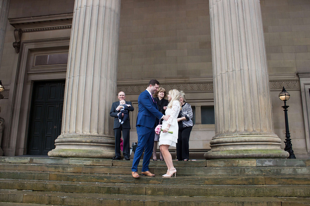 Bride and groom at their St Georges Hall liverpool Elopement Wedding
