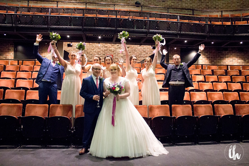 Bridal party inside the Everyman theatre stalls