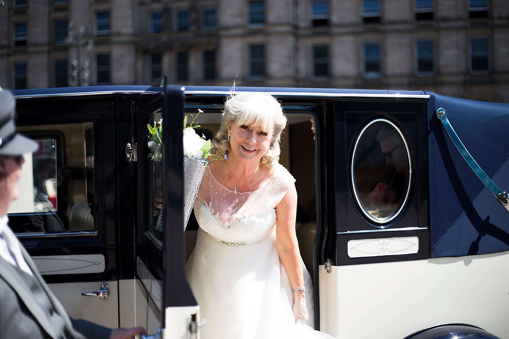 Bride arriving at St George's Hall Liverpool Wedding