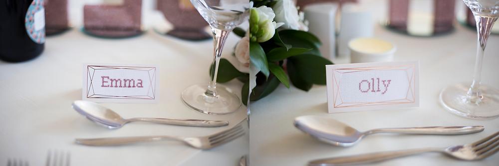 Cross stitch wedding placecards